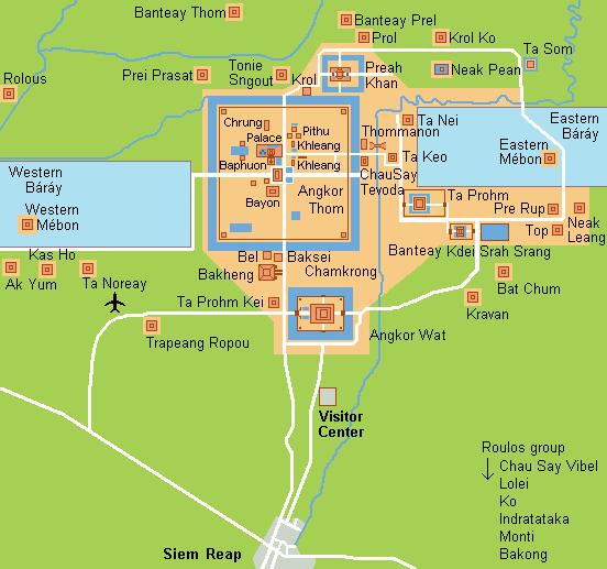 Siem Reap + Angkor Wat, Cambodia Cambodia Angkor Wat Map on